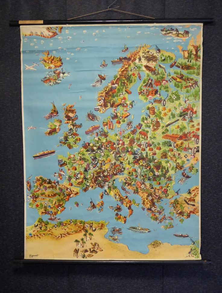 Vintage 1940s School Chart Map of Europe - The Collectors Bag