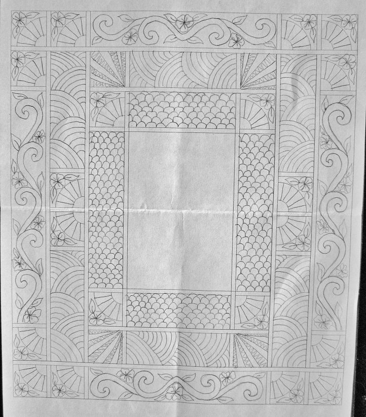 I am always lost on how to quilt a quilt--this quilter drew out her design prior to quilting--love the design