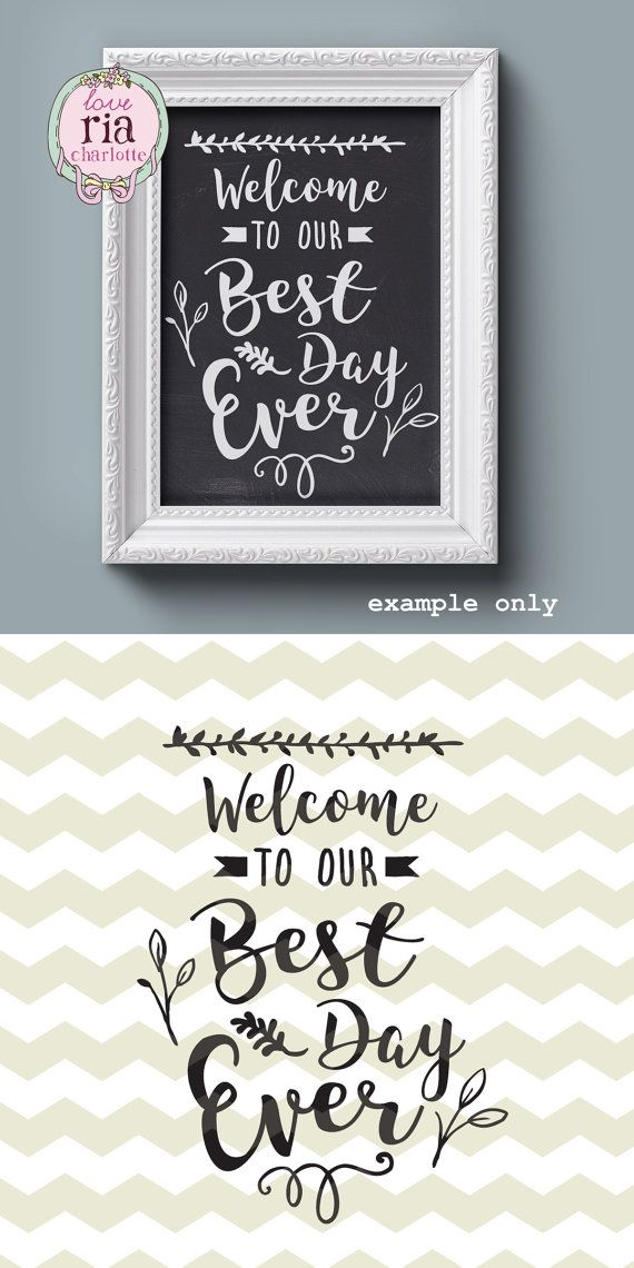 Welcome to our Best Day Ever, wedding  greeting love sign digital files, SVG, DXF, studio3 for cricut, silhouette cameo, diy vinyl decals