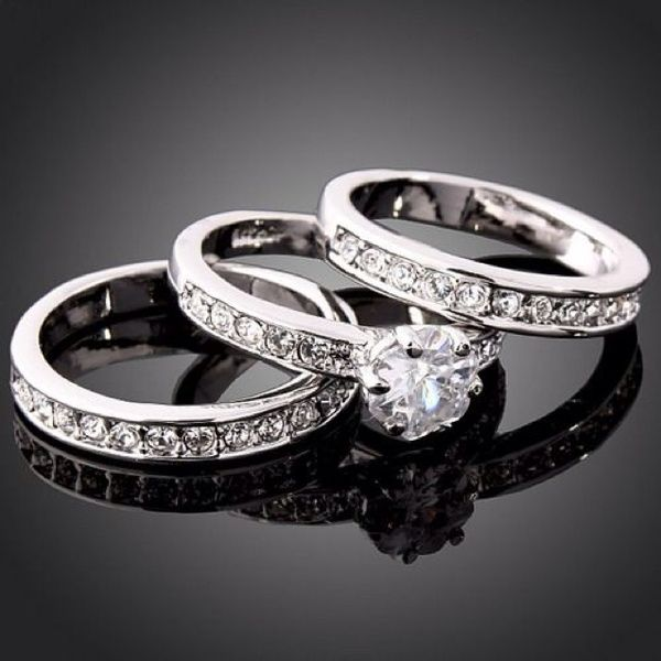 3 Pc Engagement Ring And Double Wedding Bands Bridal Set. Love the idea of two wedding bands, one to represent husband, one to represent children