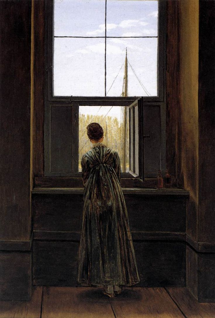 Woman at a Window - Caspar David Friedrich, 1822. Four years after his wedding, Friedrich painted this picture of his wife Caroline at the window of their house in Dresden, overlooking the River Elbe.