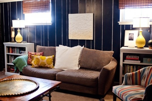 This is an idea!!  paint treatment for dealing with ugly wood paneling