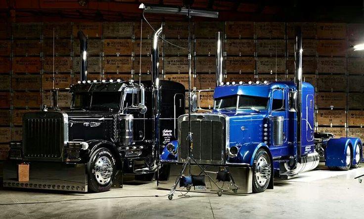 2006 Black Peterbilt 379 & 2013 Blue Peterbilt 389