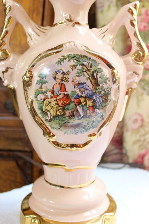 French Courting Scene Lamp Pink Porcelain Urn By