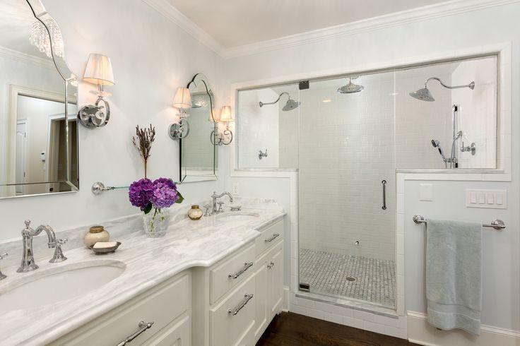 Dual Shower Head Bathroom Traditional with Carrara Marble Double Sinks