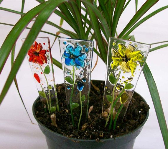 Fused Glass Plant Stakes and Garden Stakes Flower