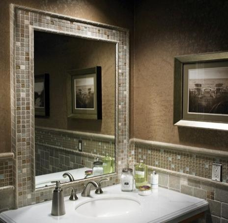 Glass mosaic tile to frame out mirror   Looks nice. 17 Best images about Guest bathroom on Pinterest   Glass mosaic