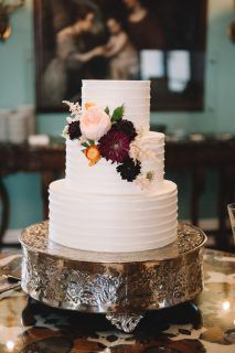 Elegant white floral wedding cake made by PPHG pastry chef Jessica Grossman at Sharon & Tony's  wedding at the William Aiken House| Charleston, SC | Photo by Jennings King Photography