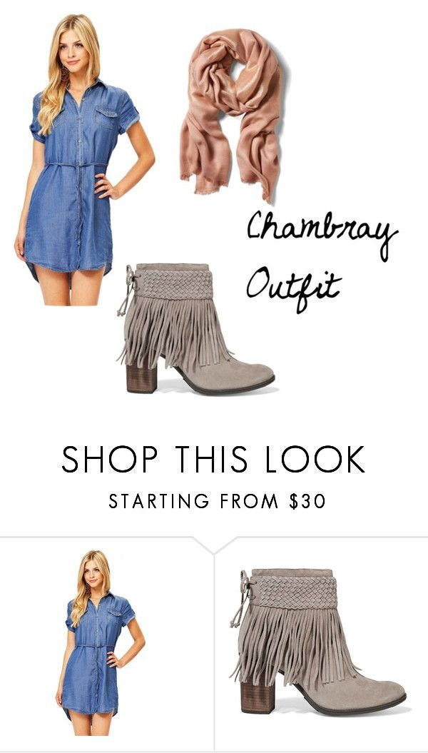 """chambray outfit casual"" by suzee-lynn on Polyvore featuring Schutz"