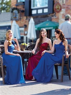 Claret/blue A-line strap Bridesmaid Dresses 2