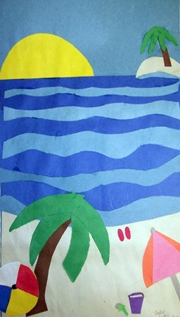Construction Paper Landscape Showing Depth