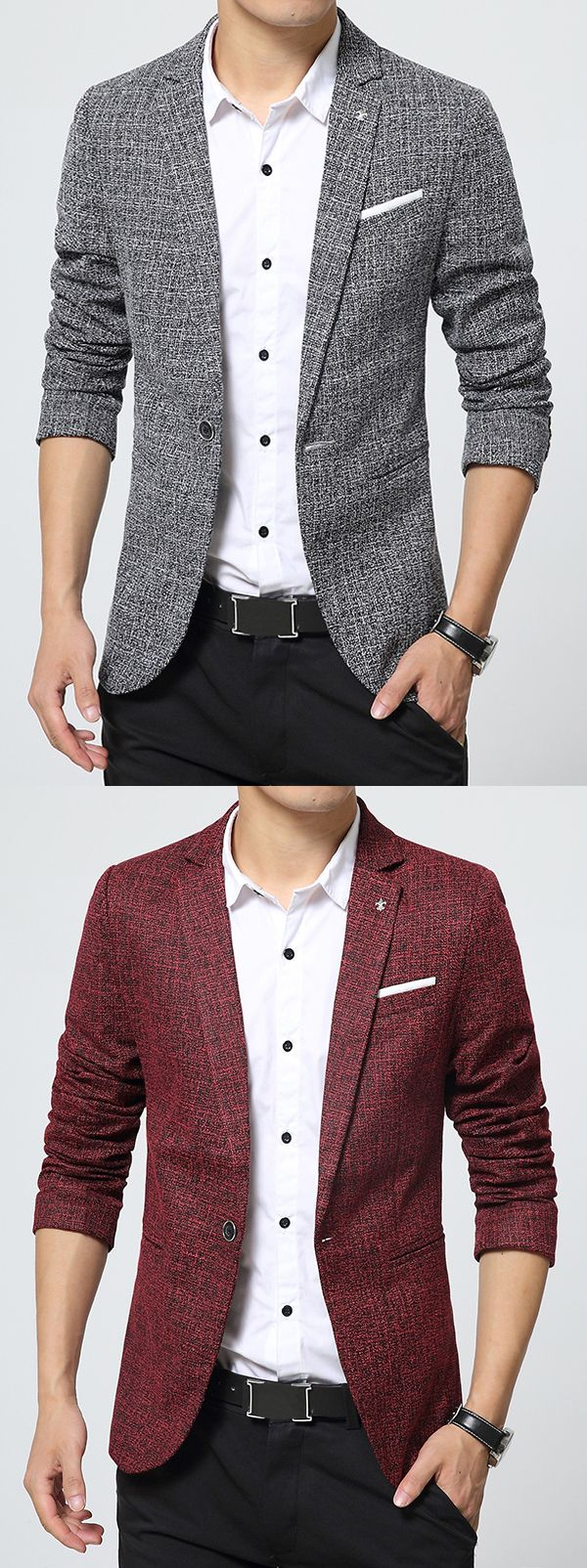 $44.19>Ericdress Notched Lapel Classic Slim Men's Blazer>Material:Cotton Blends>Length:Standard>Sleeve Length:Long Sleeves > Neckline: Notched Lapel >Sleeve Type:Regular>Closure:One Button>Style:Casual