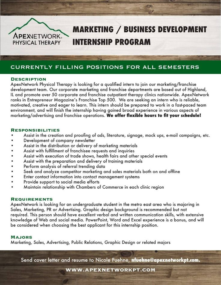 ApexNetwork Physical Therapy has an internship opportunity - physical therapy cover letter