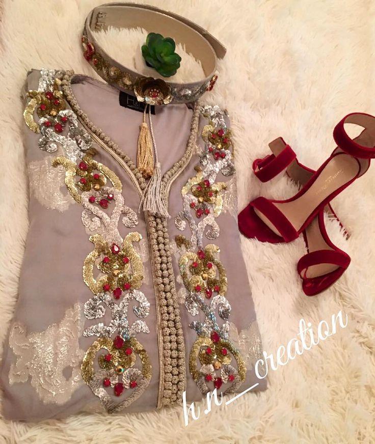 Tenue en tlija travaillée avec mâalem et perlée by H&N ✨ #HetN #creation #couture #djellaba #gandoura #caftan #tenue #robe #broderie #perlage #handmade #quality #morocco