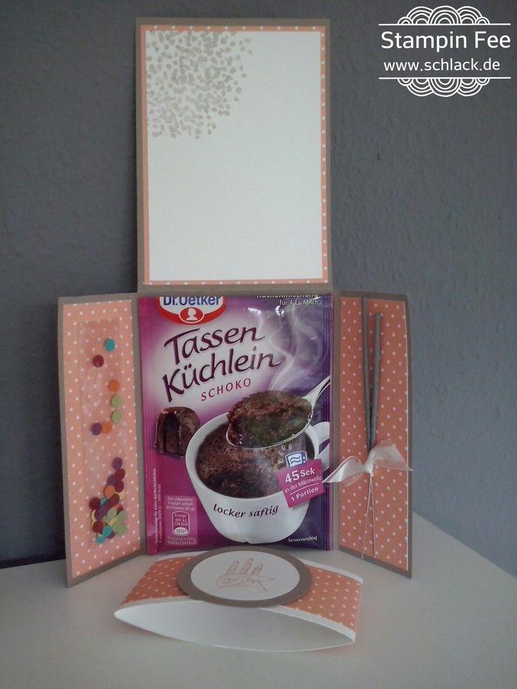 """stampin with sparkle of life """"Tassenküchlein"""" Card birthday surprise cake Karte worte die gut tun"""