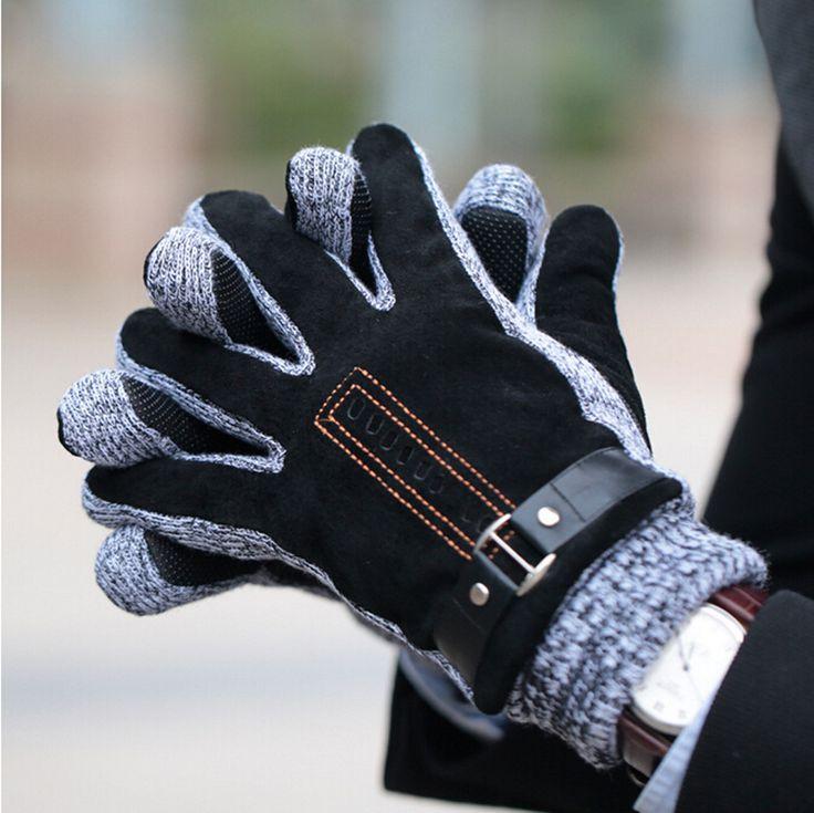 Wolfstar ピッグスキン グローブ カシミヤライニング 防寒手袋 メンズ 冬用
