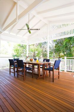 I Love timber decks...this one is stunning with it's white high raked ceiling and fan gives it that lovely sense of relaxation and coolness.  We are building a large timber deck off the back of our house at the moment.  It overlooks the backyard and vacant land to our right, as well as soaking up the lights of Toowoomba at night.  The breezes are lovely too, and we can't wait to put it to good use!