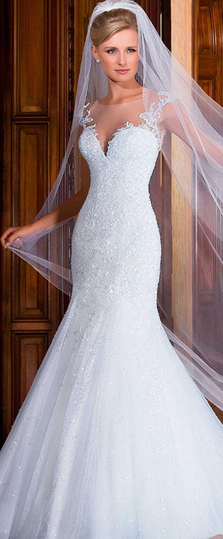 Brilliant Tulle Jewel Neckline Mermaid Wedding Dresses with Beadings