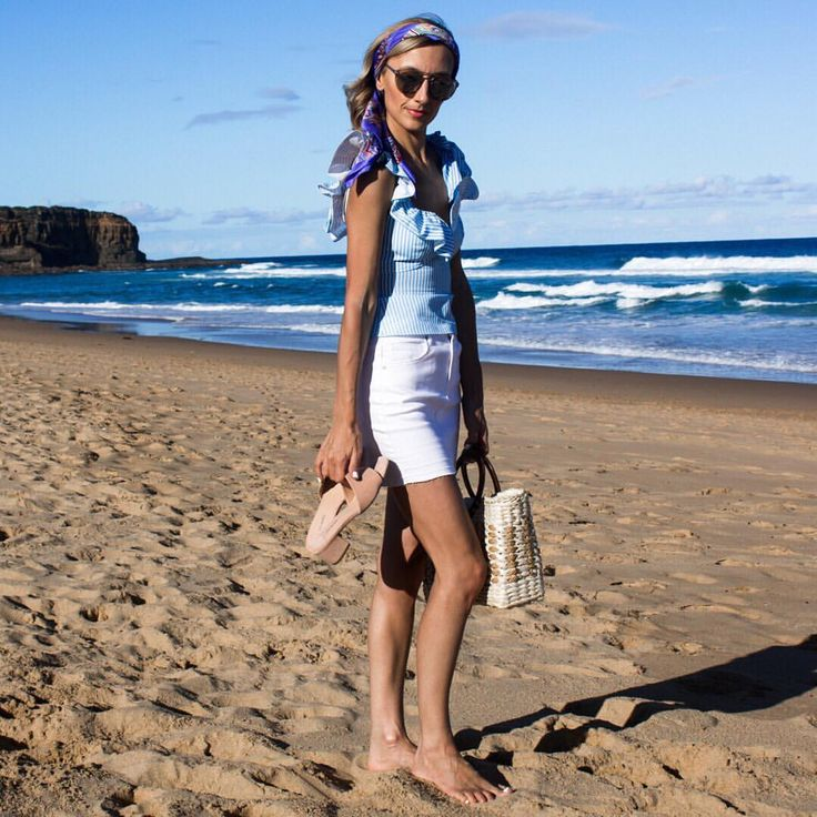 Summer style, summer outfit, blue and white stripe top, frill top, white denim skirt, silk headscarf, pink Tony Bianco mules, straw bag, beach style @thelustlife_