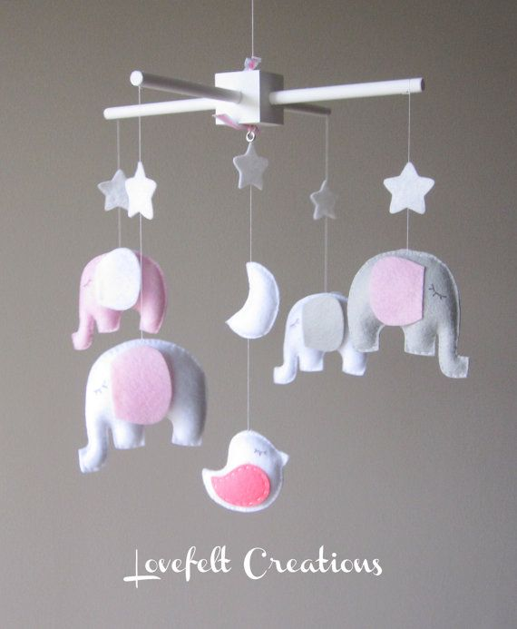 Love for pink and gray nursery! Baby+crib+mobile++Baby+mobile++Elephant+Mobile++by+LoveFeltXoXo,+$135.00