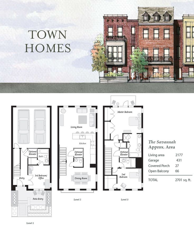 The savannah nashville townhouses germantown 4thandm for Townhouse designs and floor plans