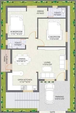 Image result for 2 BHK floor plans of 24 x 60