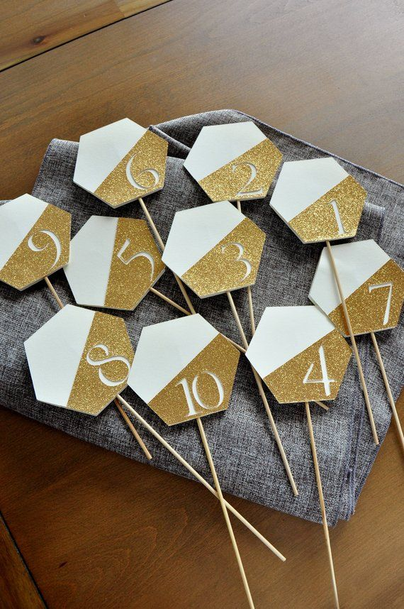 Table Number Sticks Gold Ivory And Gold Wedding Decorations