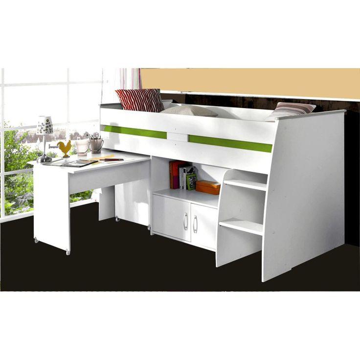 Parisot Hochbett Reverse mit Schreibtisch weiß 250 Kinderzimmer - hochbett mit schreibtisch 2