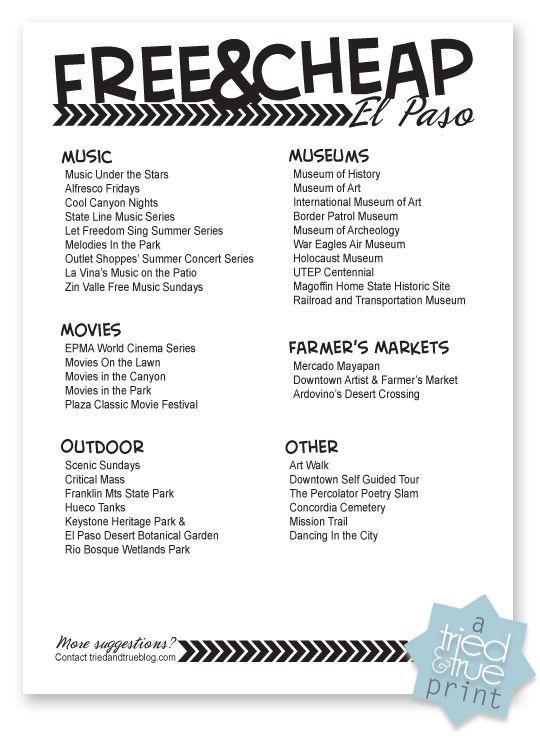 El Paso Checklist