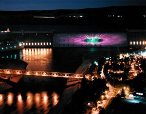 Grand Coulee Dam laser light show. Went Aug 2005, cost $2 pp includes bus ride from campground!