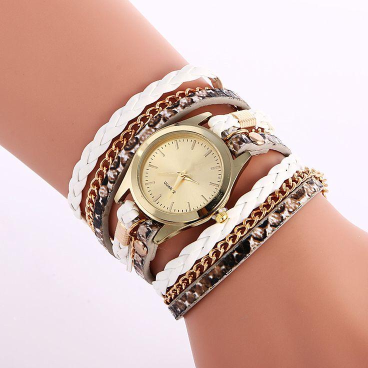 Snake Print Woven Wrap Bracelet Watch
