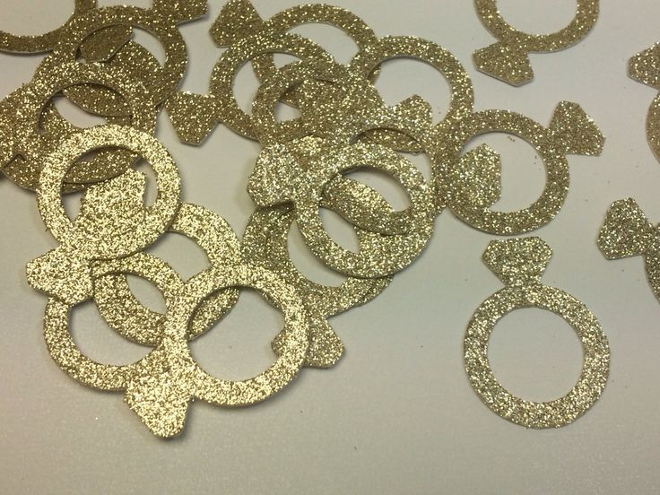 Gold Glitter Engagement Ring Confetti, Engagement Party Decor, Bachelorette Party Decor, Bachelorette Decorations, Bridal Shower Decor by RoselandHaven on Etsy https://www.etsy.com/listing/231495622/gold-glitter-engagement-ring-confetti