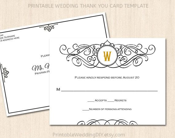 Printable wedding RSVP postcard template Editable wedding word – Free Wedding Rsvp Card Templates