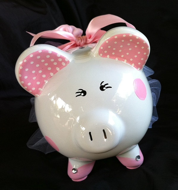 Hand Painted and Personalized Ballerina Piggy Bank on etsy.com $40