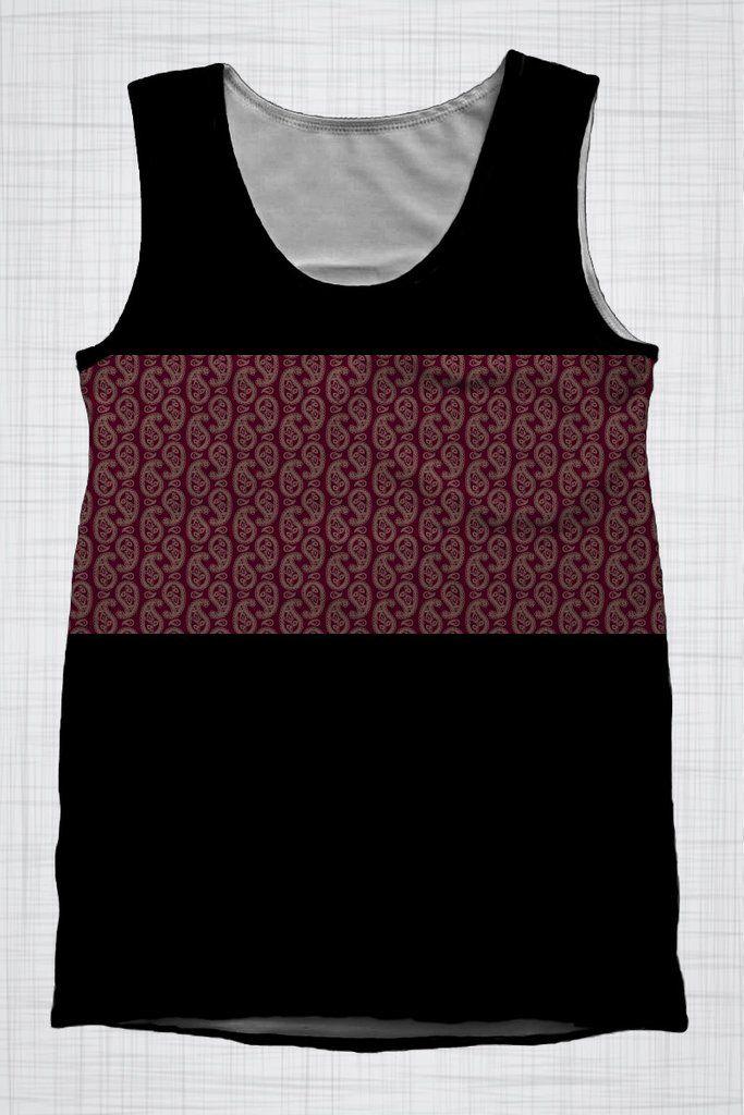 Plus Size Men's Clothing Black Paisley singlet