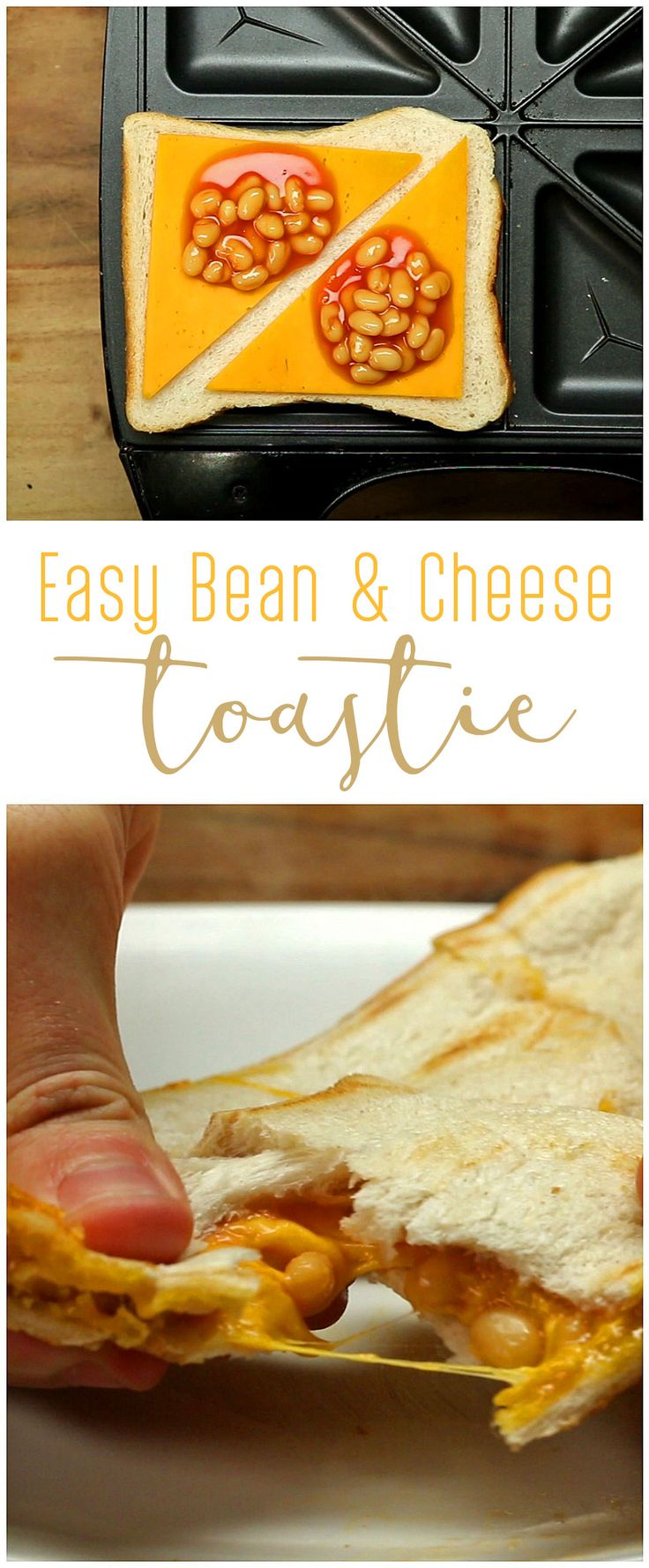Great after school snack - we make it all the time! Easy Bean & Cheese Toastie