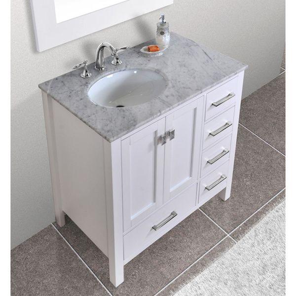 Malibu Pure White Single Sink 36 Inch Bathroom Vanity By