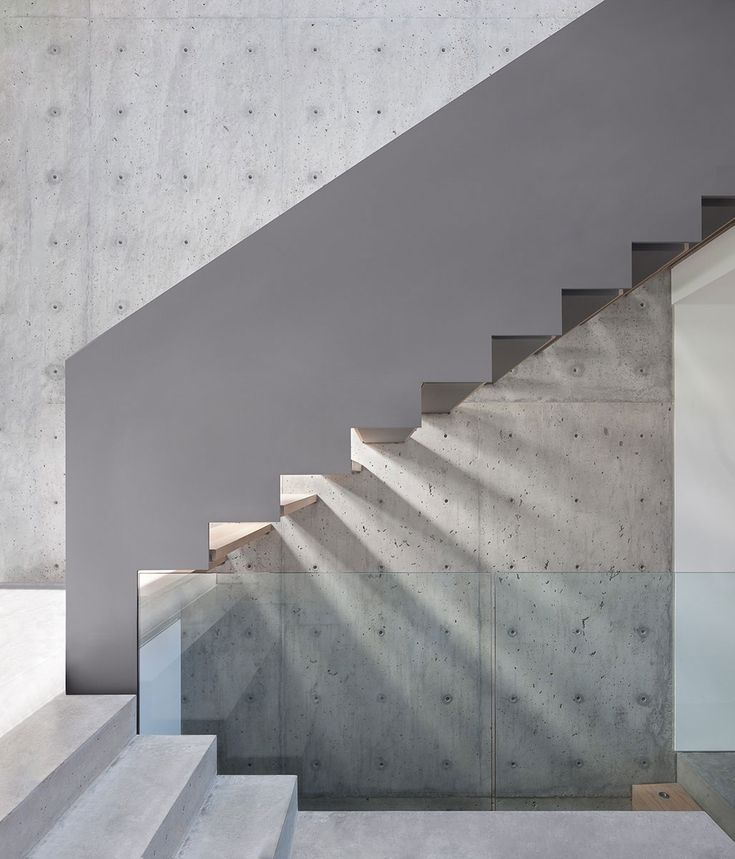 Perfect Staircases Light/reflection / Concrete Wall / Concrete Stairs / Open Risers    Russet By Splyce Design