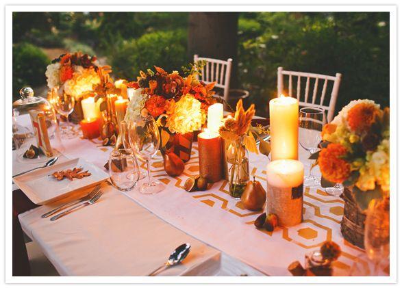fall foliage color tablescape
