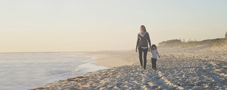 Perth Candid, Natural Light Lifestyle Photographer. Hollie Mackenzie Photography. Mother Daughter Beach Walks on a Beautiful Winters Evening. www.holliemackenzie.com.au