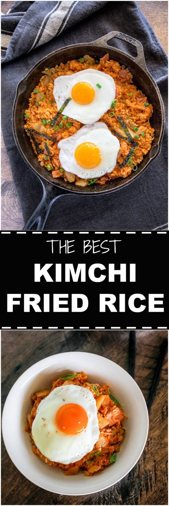 Easy kimchi fried rice recipe. Kimchi and rice is stir fried with smoky bacon and spicy kimchi juice. It's simply delicious! | MyKoreanKitchen.com via @mykoreankitchen