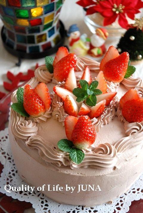 JUNA『おうちで出来るクリスマスケーキ チョコレートクリーム&イチゴ♪』