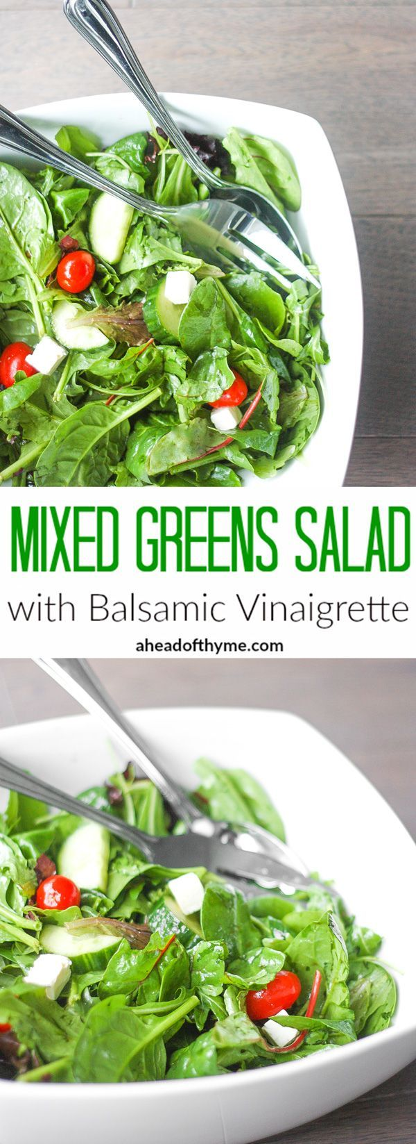 Mixed Greens Salad with Balsamic Vinaigrette: When I want to make a quick and easy salad, this mixed greens salad with balsamic vinaigrette is my go-to recipe. It makes a great side dish at dinner or a light lunch | http://aheadofthyme.com
