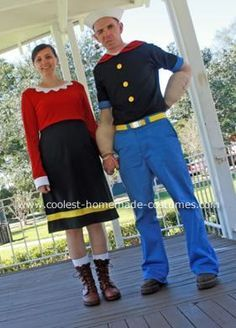 Popeye and Olive Oyl Halloween Costume... This website is the Pinterest of costumes