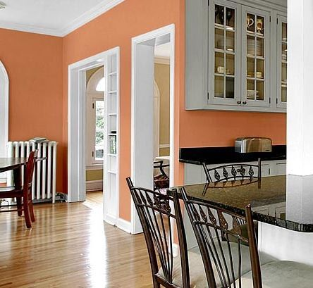 Peach walls gray cabinets diy pinterest paint for White kitchen wall color