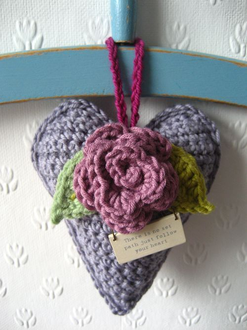 Crochet gift heart from Lucy @ Attic 24 - free pattern for heart here: http://www.flickr.com/photos/made_by_beag/3236914556 and for flower here: http://attic24.typepad.com/weblog/may-roses.html