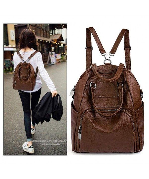65fc08ee35 Women Backpack Purse PU Washed Leather Convertible Ladies Rucksack  Crossbody Shoulder Bag - Brown - CU186S6NH0M
