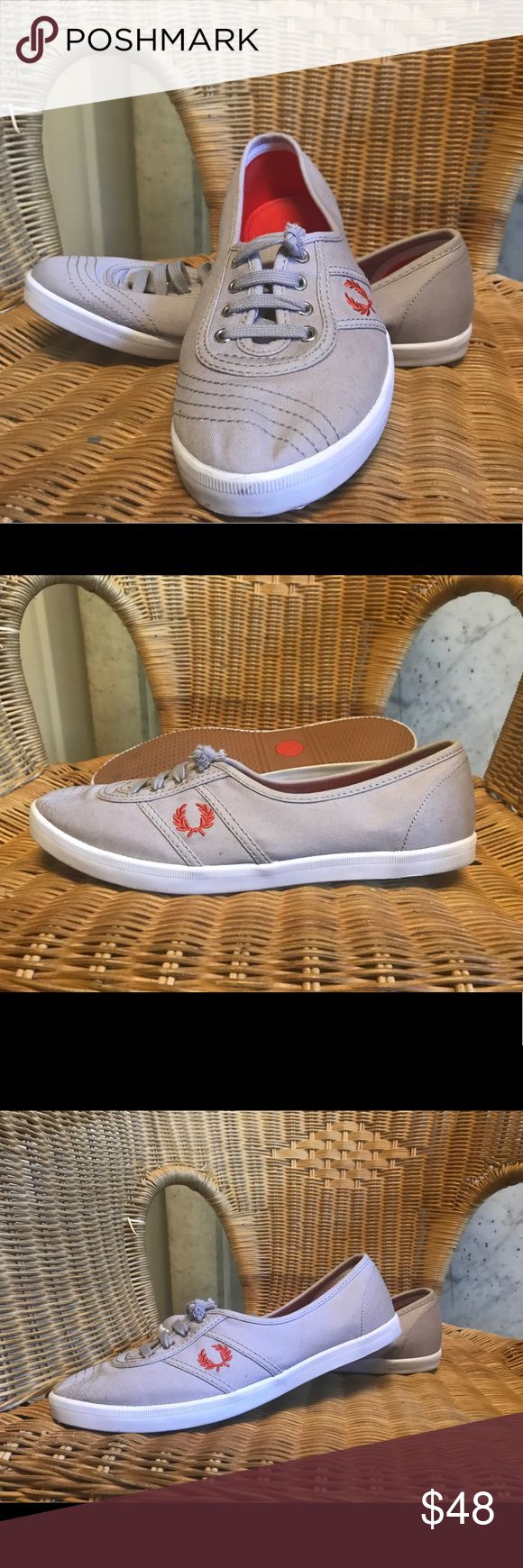 Fred Perry womens sneakers EXCELLENT condition, worn twice. Small marks on one sole, visible in photo. Original laces, although I did snip them to be flat and not overflowing.  US size 8 Fred Perry Shoes Sneakers