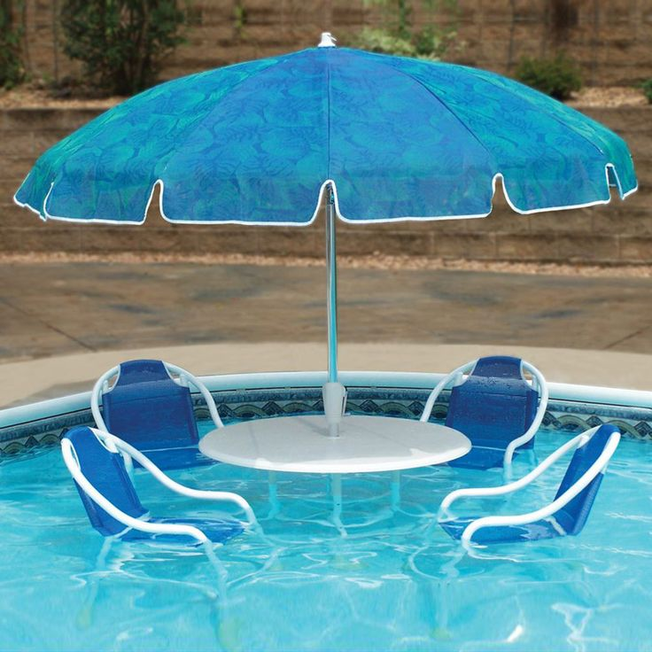 Delightful Outdoor, Coolest Swimming Pool Design Ideas: Swimming Pool Patio Table Set  Design With Large Blue Umbrella And Chairs