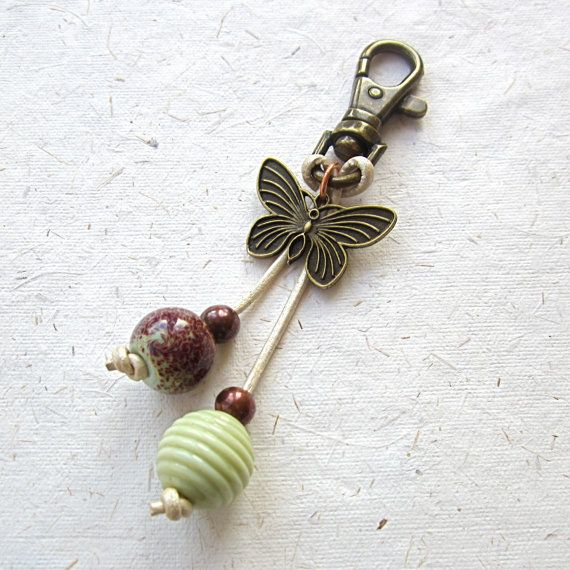 Key ring, beaded purse charm, brass butterfly charm, lampwork glass,